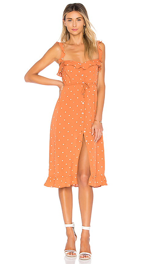 7352690b76 For Love   Lemons Natalia Polka-Dot Ruffle Midi Dress In Burnt Orange