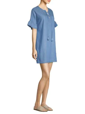 Vineyard Vines Chambray Lace-up Dress In Summer Evening