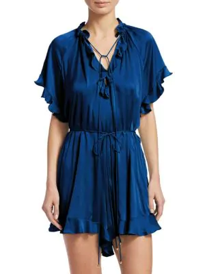Zimmermann Ruffled Playsuit In French Navy
