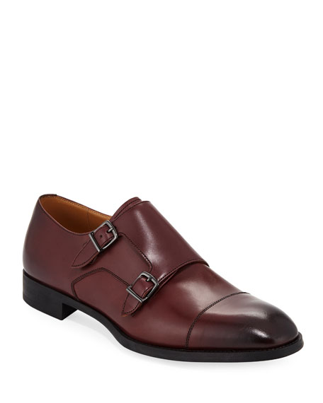 Giorgio Armani Leather Double-Monk Shoe In Maroon