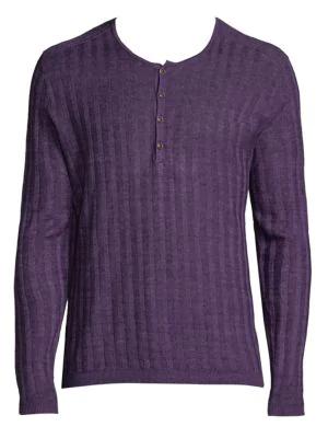 John Varvatos Long Sleeve Rib Henley In Purple Rain