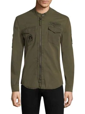 John Varvatos Military Shirt Jacket In Olive