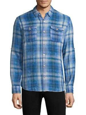 John Varvatos Plaid Roll Sleeve Sportshirt In Cornflower