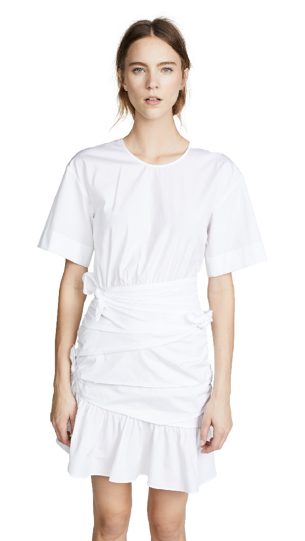 A.l.c Cassian Ruched Tie Shirtdress In White
