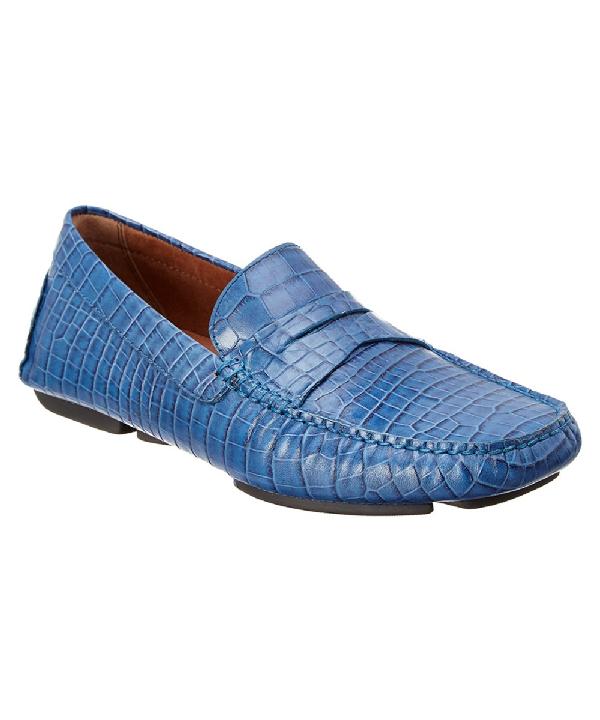 Donald Pliner Vinco Leather Driver In Blue