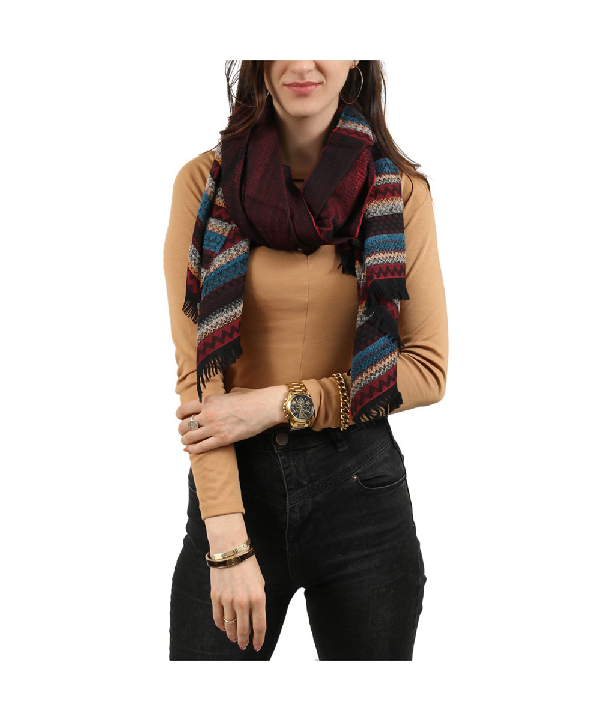 Missoni Burgundy/teal Graphic Scarf In Red