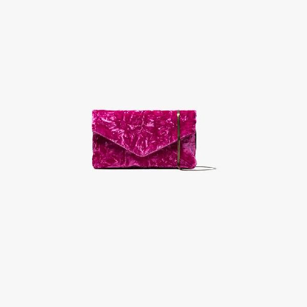 Dries Van Noten Pink Envelope Crushed Velvet Clutch Bag In Pink & Purple