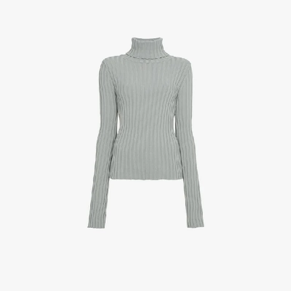 Vetements Knitted Ribbed High Neck Jumper In Grey