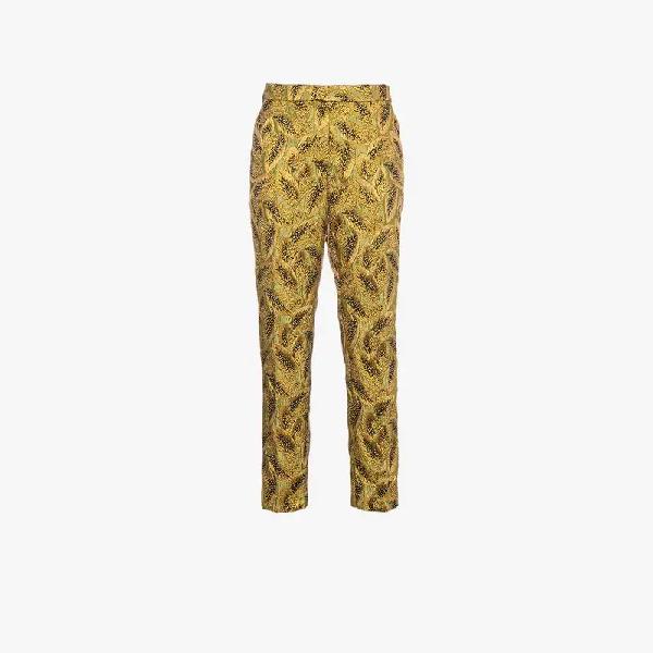 Dries Van Noten Metallic Brocade Tailored Trousers