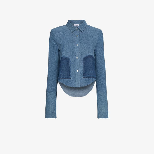 Vetements Cropped Long Sleeve Denim Shirt In Blue
