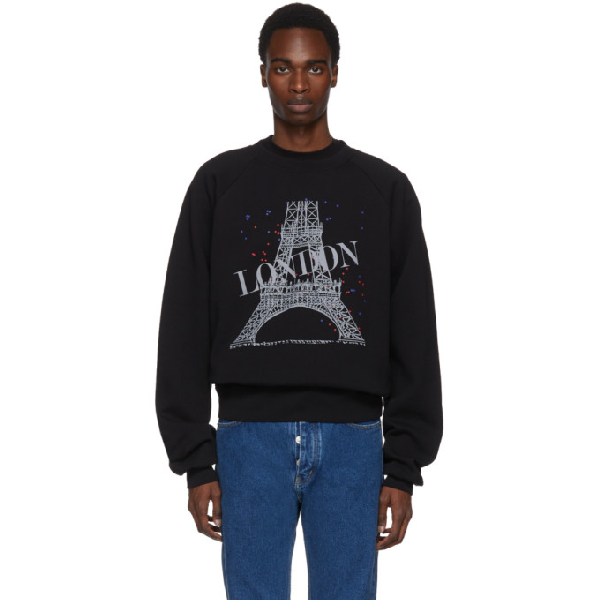 Balenciaga Graphic-print Cotton-blend Sweatshirt In 1000 Black
