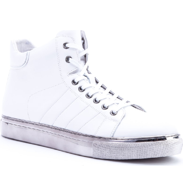 Badgley Mischka Hunter High Top Sneaker In White Leather