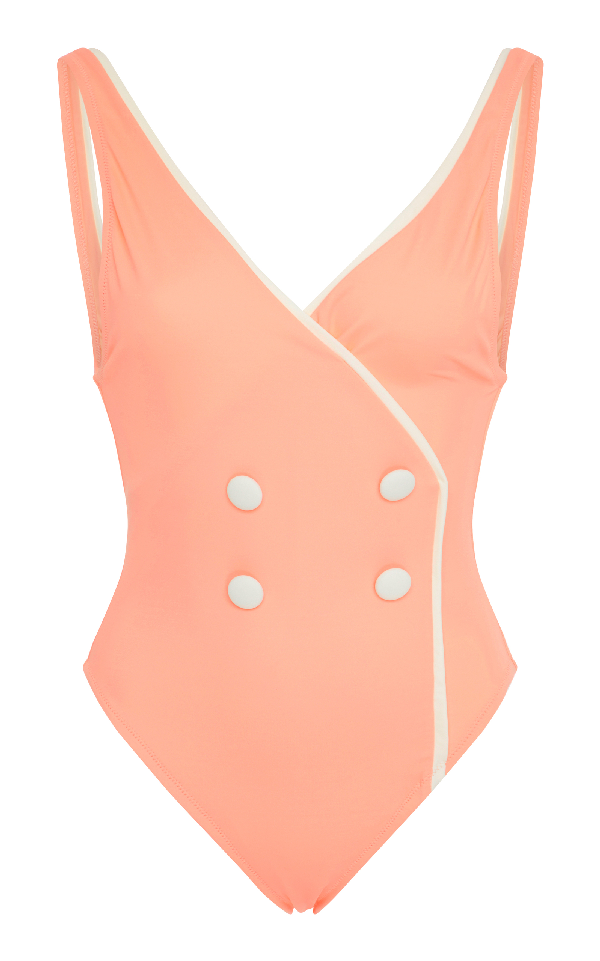 Solid & Striped The Juliette Button Front One Piece Swimsuit In Pink