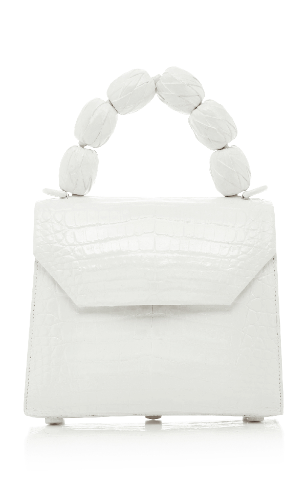 Nancy Gonzalez Lilly Small Fiesta Handle Crocodile Bag In White