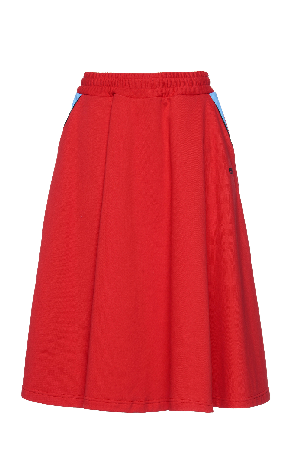 Msgm Flared Skirt In Red