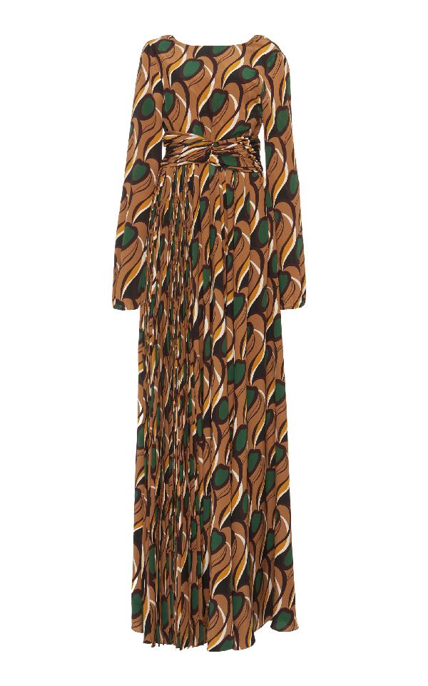 Rochas Open Back Gown In Brown