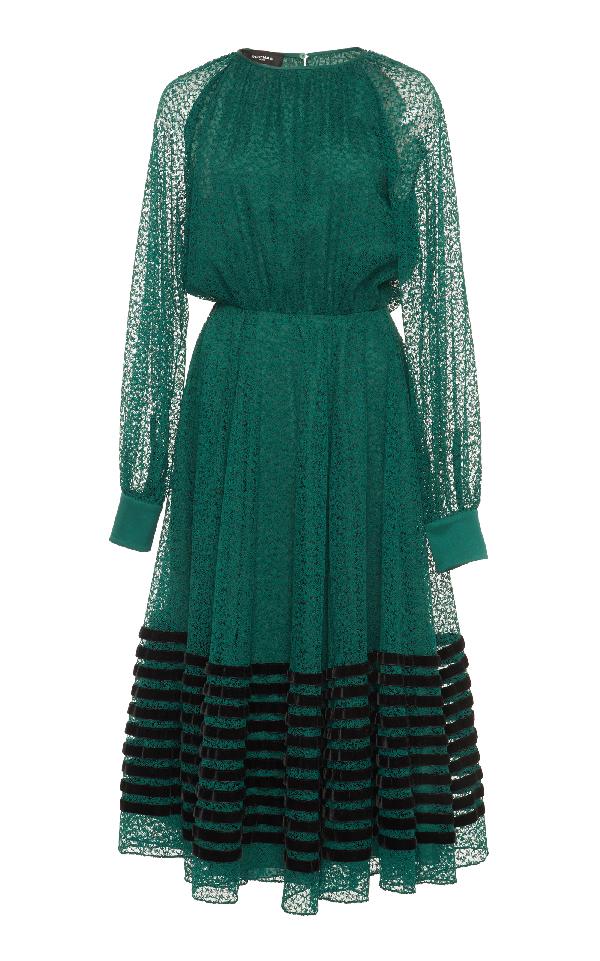 Rochas Long Sleeve Dress In Green