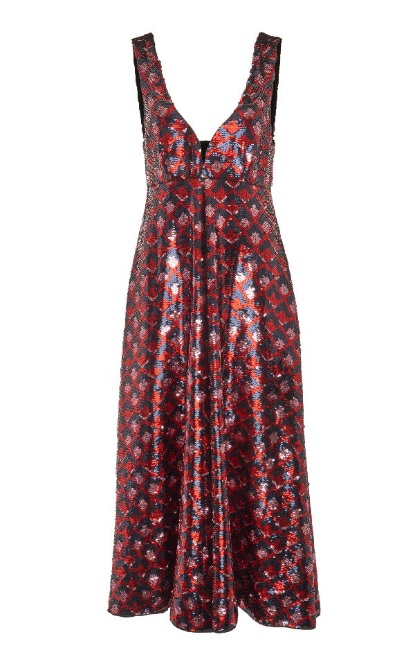 Rochas V-neck Sequin Dress In Red