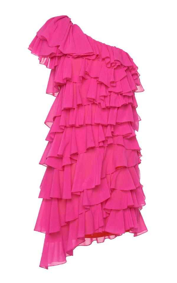 Lanvin One Shoulder Dress In Pink