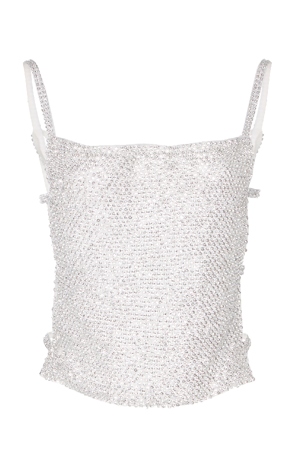 Nina Ricci Crystal Embroidered Strass Top In Silver