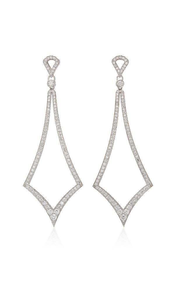 Sara Weinstock Deco Marquis White Gold White Diamond Drop Earrings