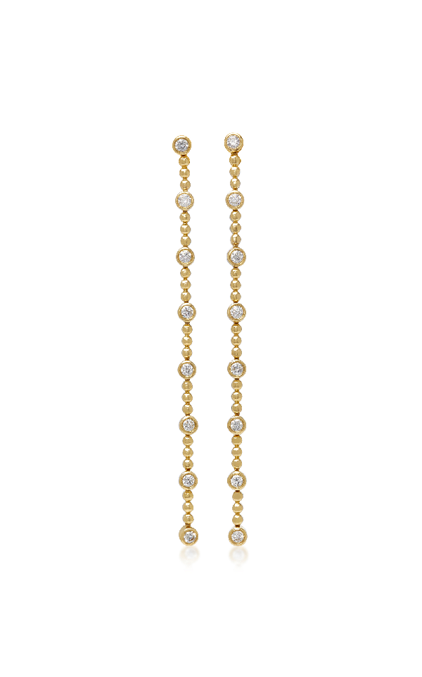 Sara Weinstock White Diamond Isadora Bezel And Bead Drop Earrings In Gold