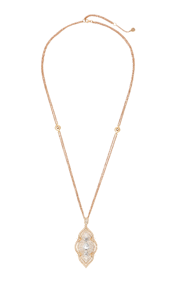 Sara Weinstock White Diamond Taj Necklace In Pink