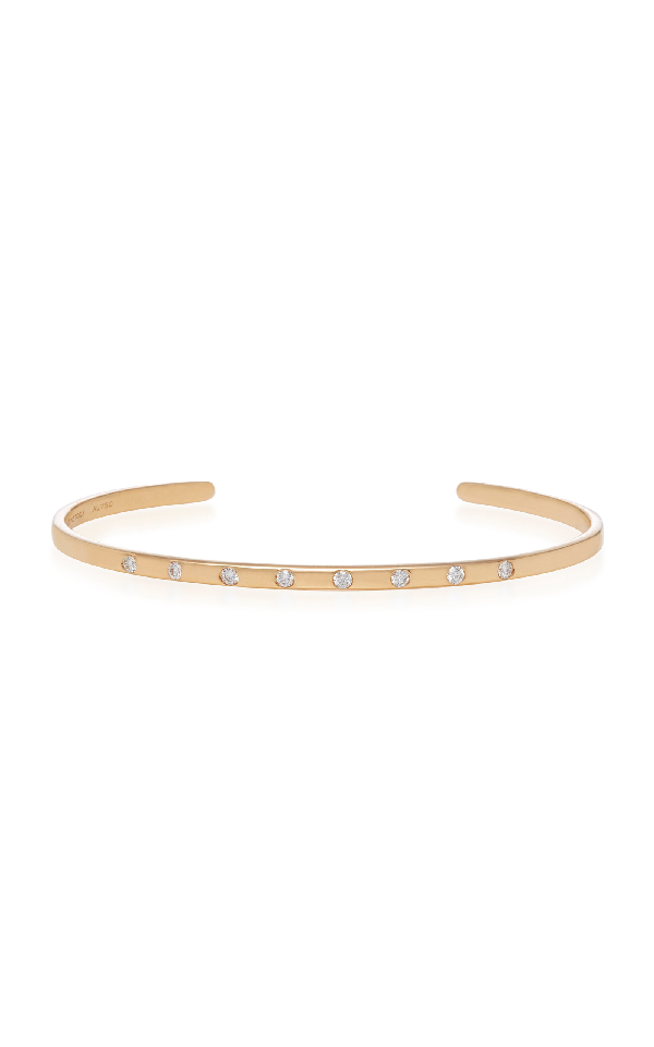 Sara Weinstock Rose Gold White Diamond Spaced Out Bangle Cuff In Pink