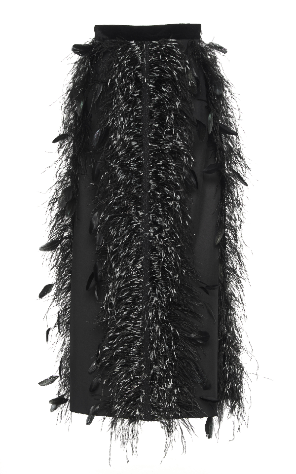 Huishan Zhang Feather Canary Skirt In Black