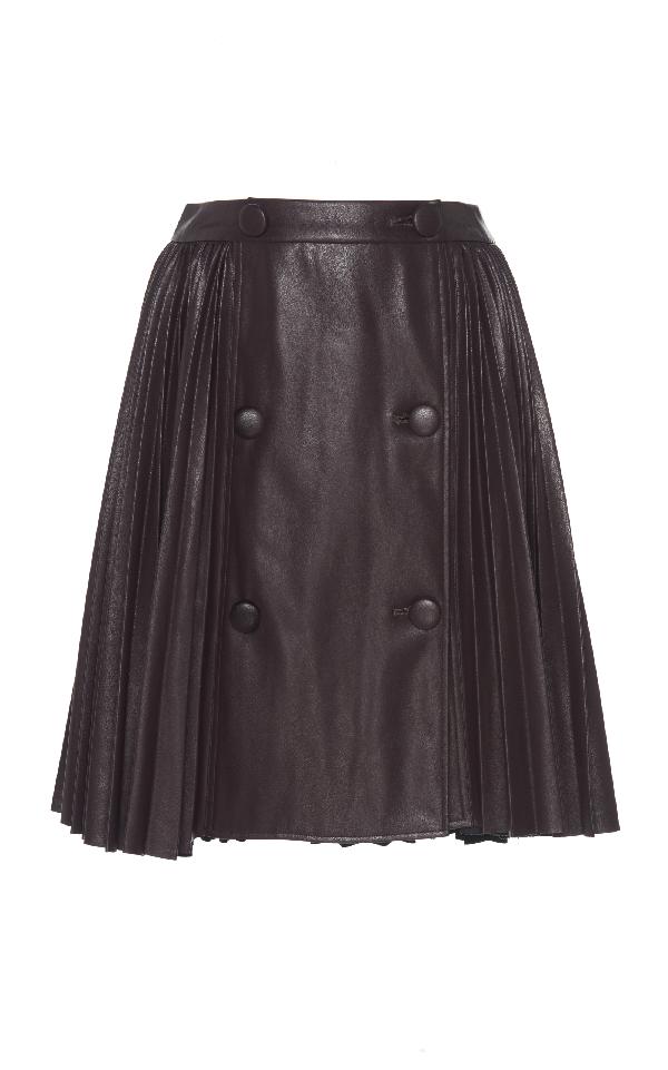 Huishan Zhang Cosmic Leather Mini Skirt In Brown