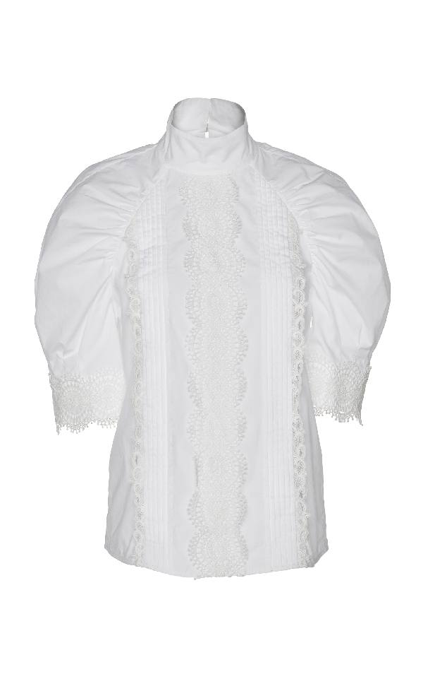 Huishan Zhang Cambelle Short Sleeve Blouse In White