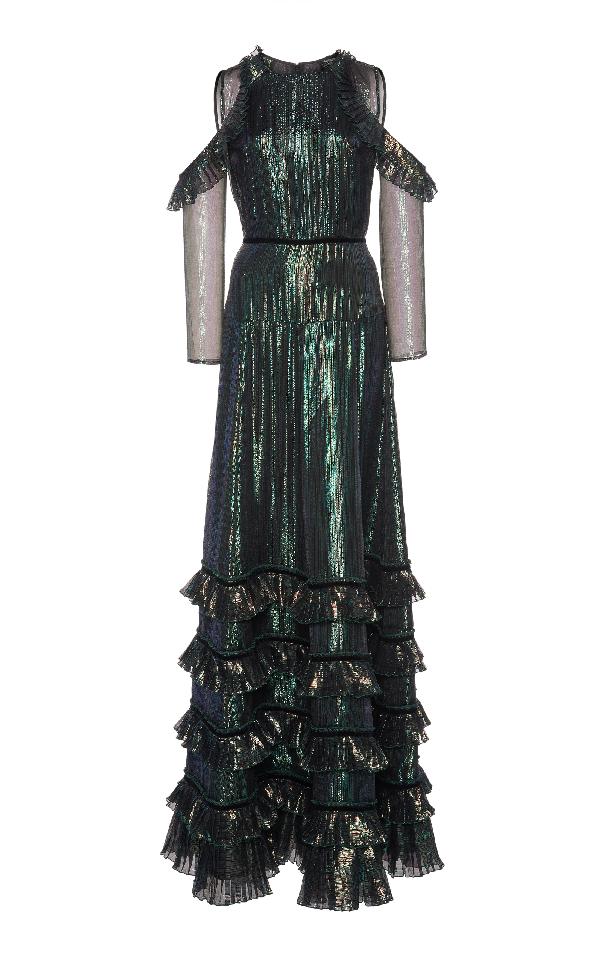 Huishan Zhang India Longsleeve Gown In Metallic