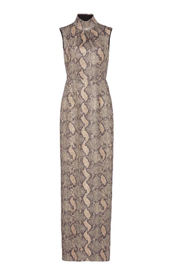 Emilia Wickstead Georgina Snake-effect Crepe Gown In Print