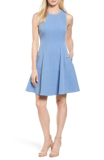 Anne Klein Fit & Flare Dress In Pacific