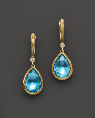 Bloomingdale's Blue Topaz Teardrop Earrings With Diamonds In 14k Yellow Gold - 100% Exclusive In Multi