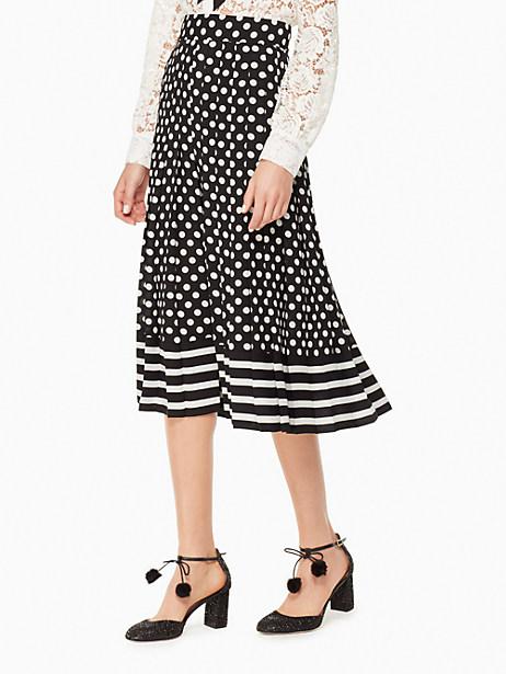 Kate Spade Dot Stripe Pleated Skirt In Black/cream