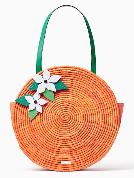 Kate Spade Spice Things Up Straw Orange Tote