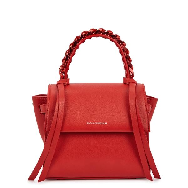 Elena Ghisellini Angel Sensua Mini Top Handle Leather Handbag In Red