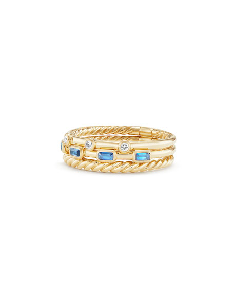 David Yurman Novella Three-row Ring In Pink Sapphire With Diamonds In Pink/gold