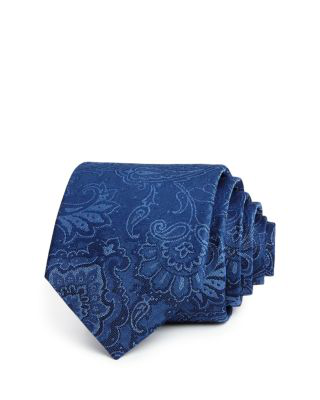 The Men's Store At Bloomingdale's Large Floral Paisley Classic Tie - 100% Exclusive In Blue