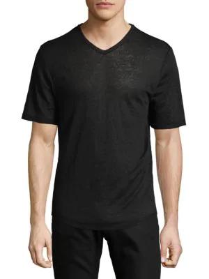 Vince Raw Edge V-Neck Linen T-Shirt In Black