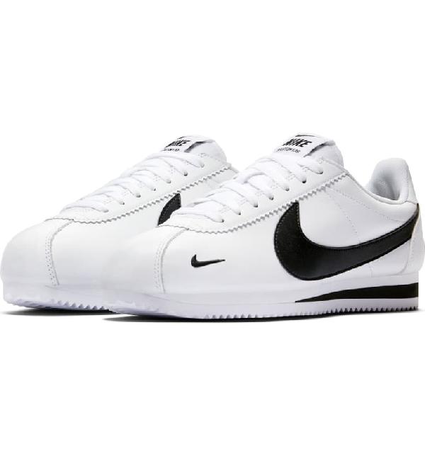 Nike Classic Cortez Premium Sneaker In White/ Black