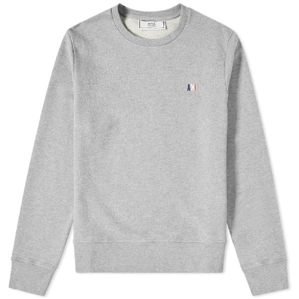 Ami Alexandre Mattiussi Ami Small Tricolour Logo Crew Sweat In Grey