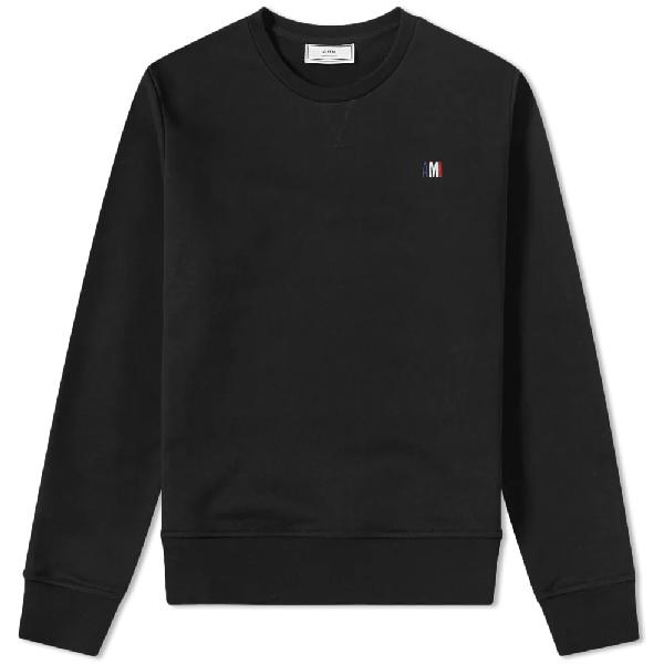 Ami Alexandre Mattiussi Ami Small Tricolour Logo Crew Sweat In Black