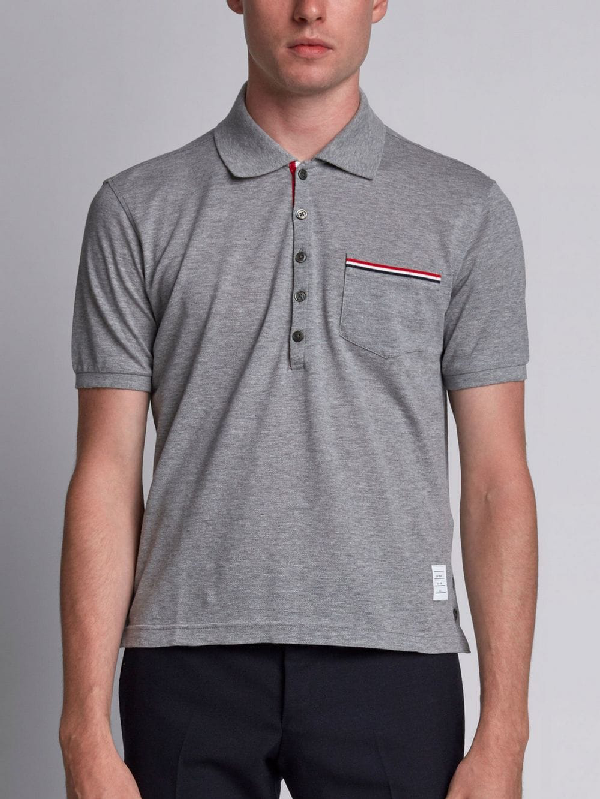 Thom Browne Short Sleeve Polo Shirt In Light Grey Pique