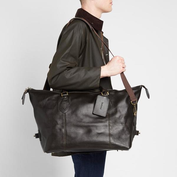 Barbour Leather Medium Travel Explorer In Brown