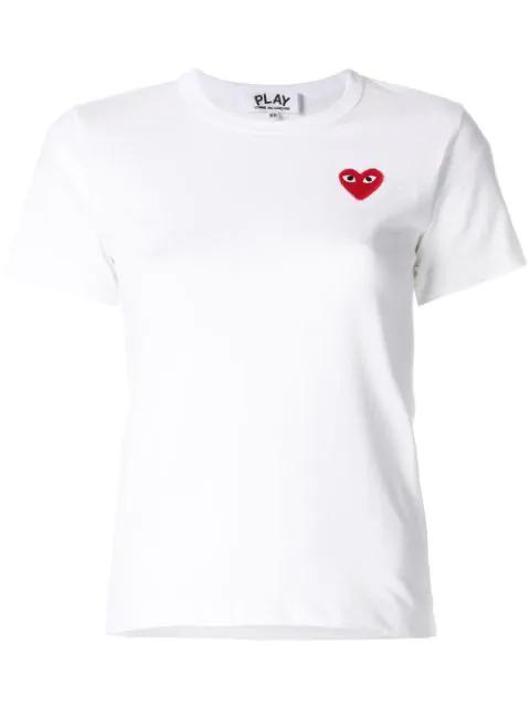 Comme Des Garçons Play Comme Des Gar Ons Play Women's P1t107white White Cotton T-shirt