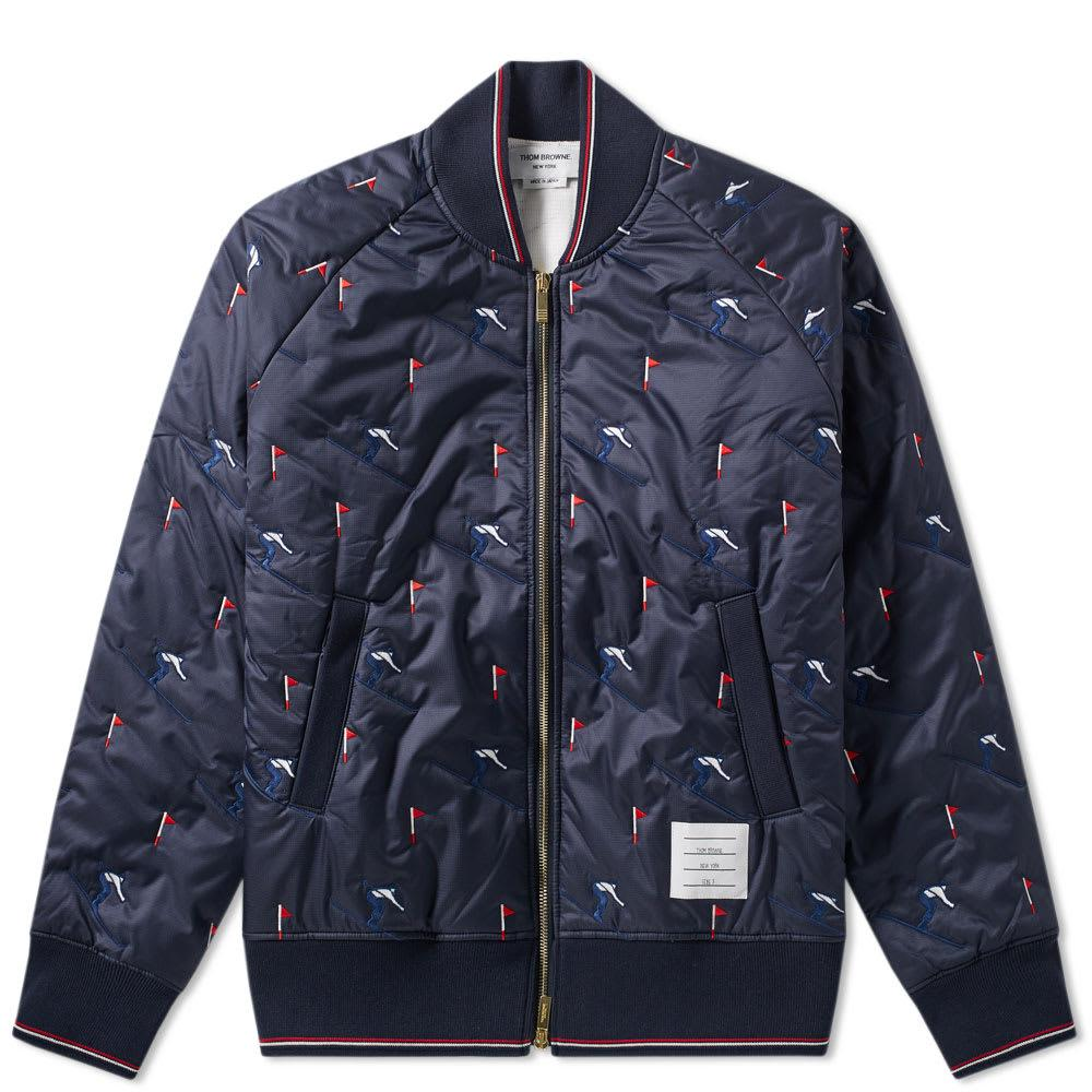 082ff9a6ec Thom Browne Skier Embroidery Quilted Bomber Jacket in Blue