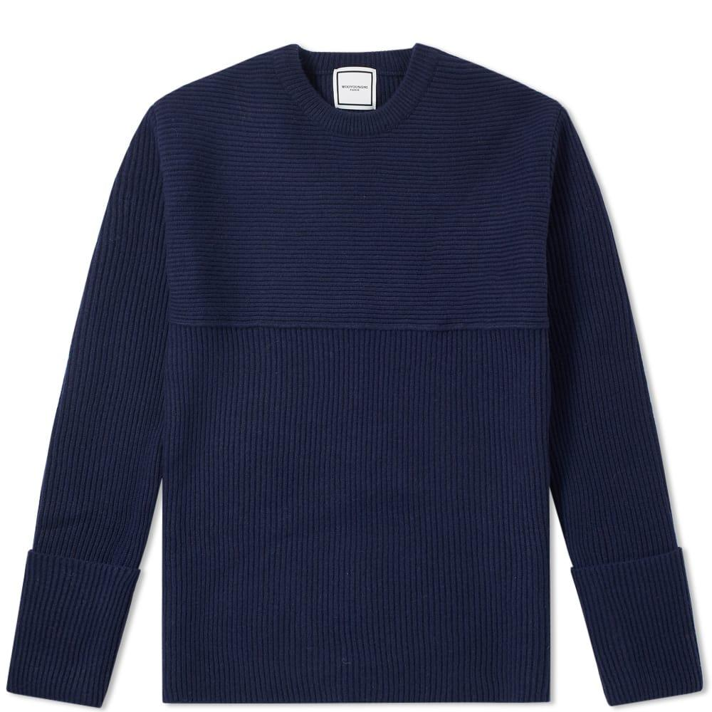 Wooyoungmi Textured Crew Knit In Blue