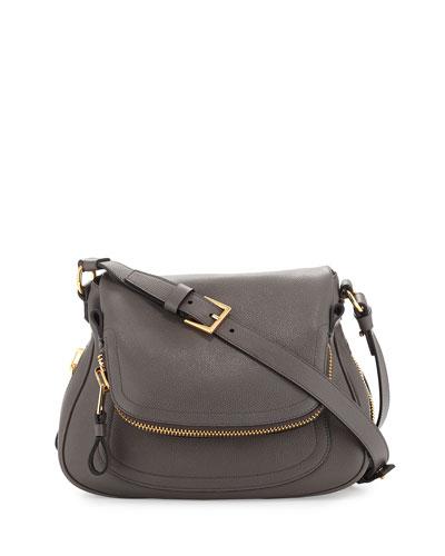 Tom Ford Graphite Calfskin 'Jennifer' Flap Front Shoulder Bag In Dark Gray